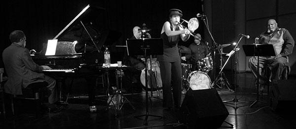 Michel Sardaby, Peter Giron, Sarah Morrow, Doug Sides, Ted Curson, Conservatoire du 19e arrdt. de Paris (oct. 2008) © Maï-Maï
