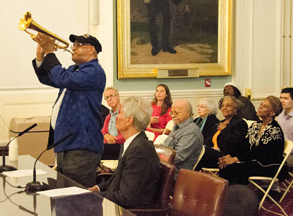Jimmy Owens (flh), Gene Perla (b), Jimmy Cobb (dm), Bertha Hope (p), Keisha St-Joan (voc), City Hall, NYC, 17 septembre 2014 © Mathieu Perez