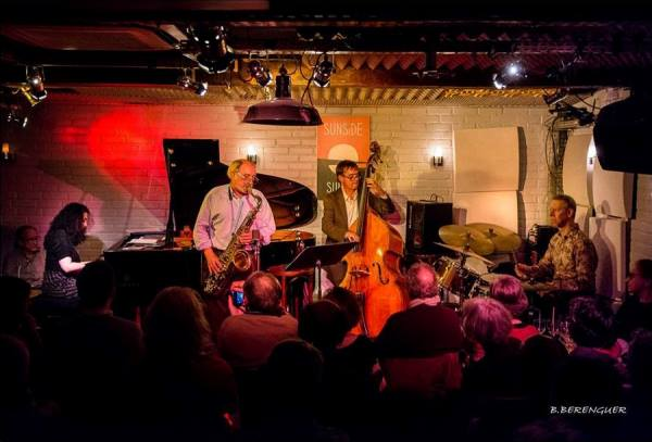 Ramona Horvath Quartet: Ramona Horvath (p), André Villéger (ts), Nicolas Rageau (b), Philippe Soirat (dm), Sunside, Paris, 2017 © Bernard Bérenguer by courtesy of Ramona Horvath
