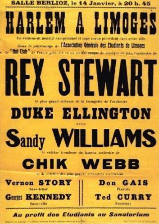Affiche du concert Rex Stewart le 14 janvier 1948 à la salle Berlioz de Limoges (collection Swing FM) tirée de l'exposition 'Harlem à Limoges'