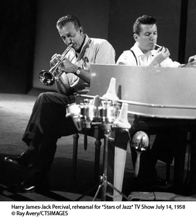 "Harry James-Jack Percival, rehearsal for ""Stars of Jazz"" TV Show July 14, 1958 © Ray Avery/CTSIMAGES"