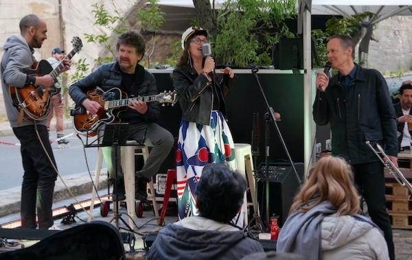 Lucas, Jean-Philippe Bordier (g), Melissa (voc), Larry Browne (tp, voc), Le Marcounet, 9 juin 2020 © Jérôme Partage