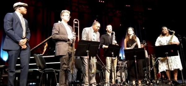 Isaiah Thompson, Sam Chess, Wynton Marsalis, Julian Lee, Alexa Tarantino, Camille Thurman, Marciac, 30 juillet 2019 © Michel Laplace