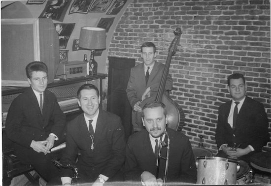 Paul Grassl (p), Pedro Iturralde, Eric Peter (b), Rudy Fussers (tb), Peer Wyboris (dm),  Whisky Club, Madrid, 1965 © photo X, Coll. Patrick Dalmace by courtesy of Pedro Iturralde