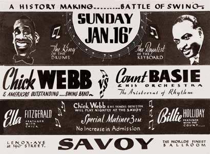 1938. Savoy Ballroom, au programme Chick Webb et Ella, Count Basie et Billie Holiday