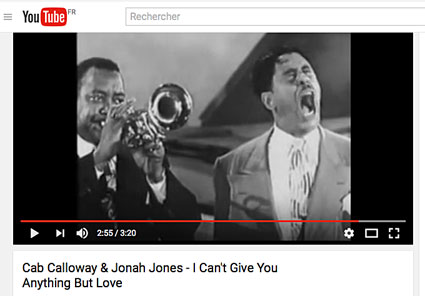Cab's Club, Jonah Jones, Cab Calloway, prob. Dave Rivera (p), Milt Hinton (b), Panama Francis (dm), 1950 © YouTube