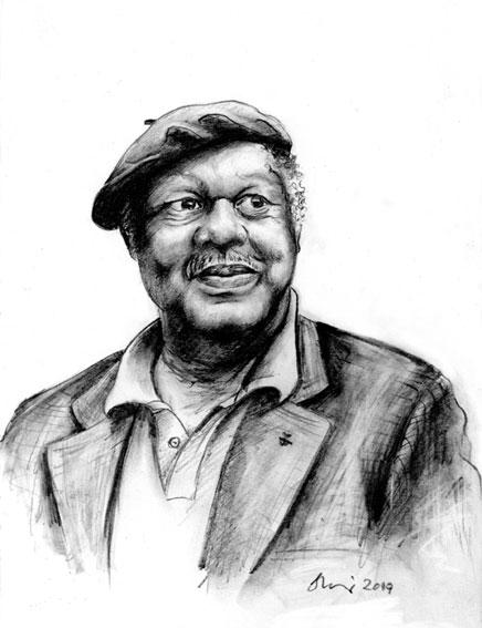 Ernest Gaines, dessin au fusain © Sandra Miley