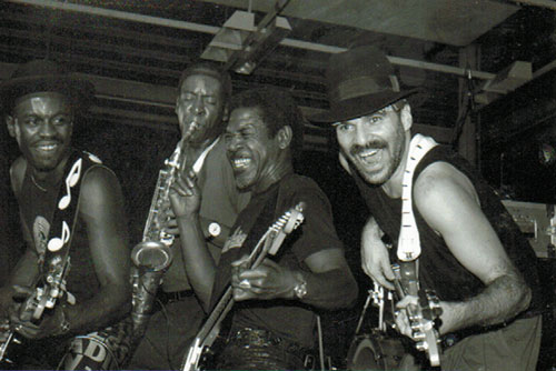 Bernard Allison, Sulaiman Hakim, Luther Allison, Peter Giron © X, by courtesy of Peter Giron