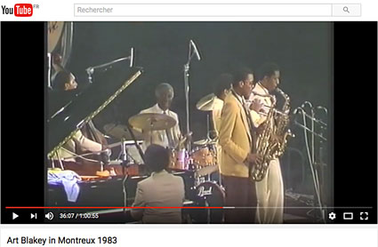 Art Blakey & Jazz Messengers:Art Blakey (dr), Terence Blanchard (tp), Donald Harrison (as), Jean Toussaint (ts), Johnny O'Neal (p), Lonnie Plaxico (b) at Jazz Festival Montreux, July 23, 1983 sur YouTube