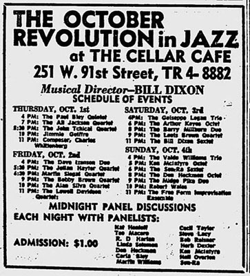 L'affiche de the October Revolution in Jazz, 1964, Cellar Cafe