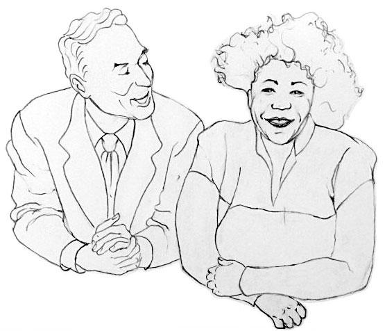 Norman Granz et Ella Fitzgerald © Dessin de Sandra Miley, d'après photo