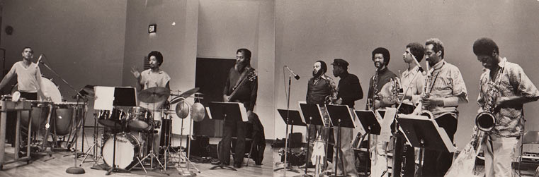 Composers Workshop Ensemble, concert SUNY Old Westbury, c. 1970: Omar Clay (dm, perc), Warren Smith (dm, perc), David Moore (b), Norman Spiller (tp), Craig Harris (tb), Jack Jeffers (btb), Vincent Chauncey (frh), Kalaparusha Ara Difda (Maurice McIntyre) (ts), Knoel Scott (bs, as) © photo X by courtesy of Warren Smith