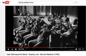 1943, Stormy Weather, Cab Calloway Orchestra, «Geechy Joe», premier chorus de tp par Jonah Jones © YouTube
