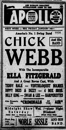 1938, Chick Webb et Ella à l'Apollo