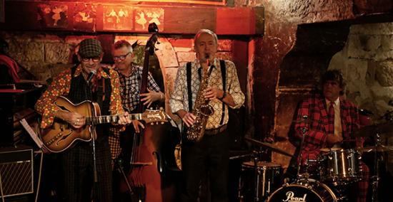 Jazzobal Band: Jean-Yves Dubanton, Jean-Yves Lacombe, Claude Tissendier, Bruno Desmouillières, Caveau de La Huchette, 18 août 2019 © Jérôme Partage