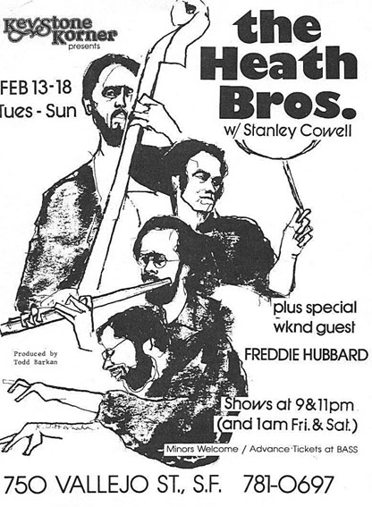 Affiche The Heath Bros. with Stanley Cowell, Keystone Korner, San Francisco, 13-18 février 1979 © Keystone Korner by courtesy of Todd Barkan