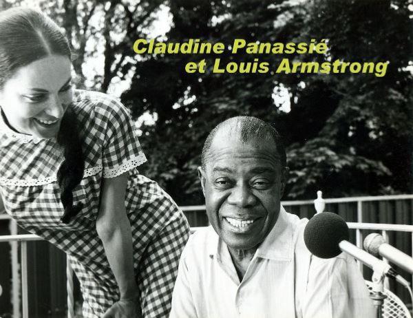 Claudine Panassié et Louis Armstrong sur le tournage de L'Aventure du jazz © Photo X, Archives Louis Panassié by courtesy