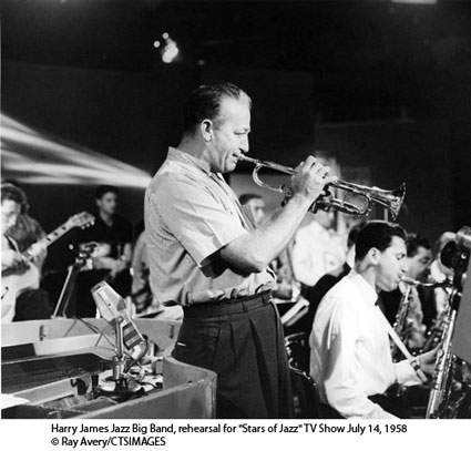"Harry James Jazz Big Band, rehearsal for ""Stars of Jazz"" TV Show July 14, 1958 © Ray Avery/CTSIMAGES"